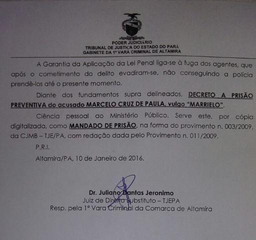Prisão preventiva foi decretada no dia 10 de janeiro