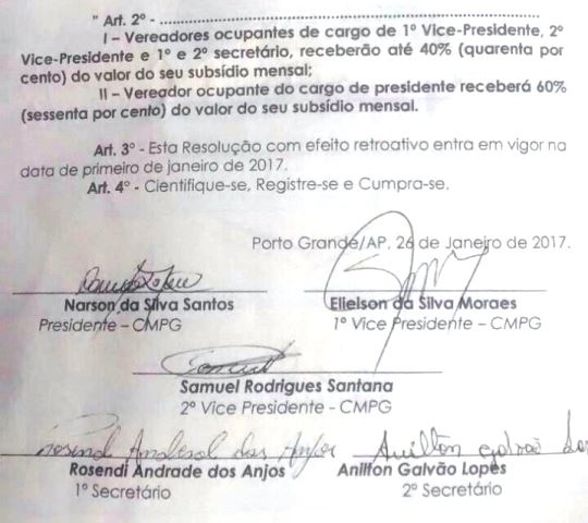 Documento que registra a aprovação da redução da verba indenizatória. Fotos: Câmara de Vereadores