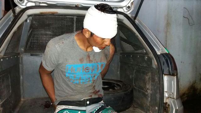 O ladrão foi levado para o HE onde foi atendido com hematomas pelo rosto