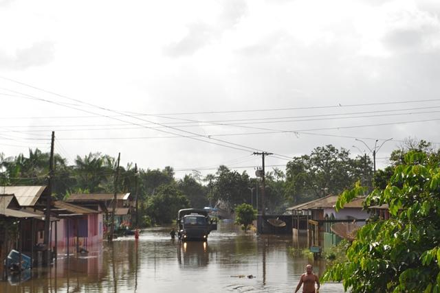Município de Calçoene sofre com inundação desde a sexta-feira. Foto: Cássia Lima