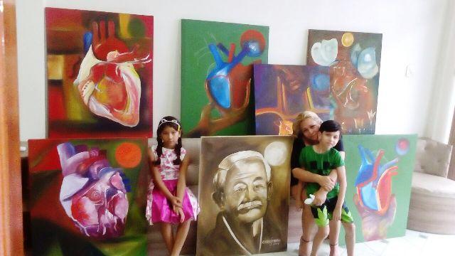 carlos prado - ultimas obras pintadas - filha e netos no velório