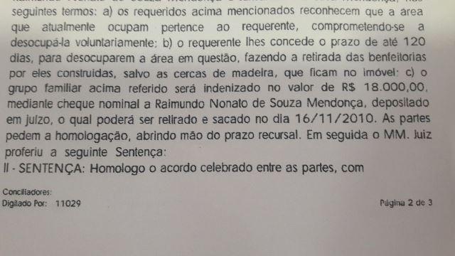Trecho de outra decisão onde agricultores concordam em sair da área invadida na Fazenda Espírito Santo