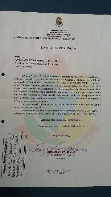Carta de renúncia do Professor Palhares: motivos pessoais