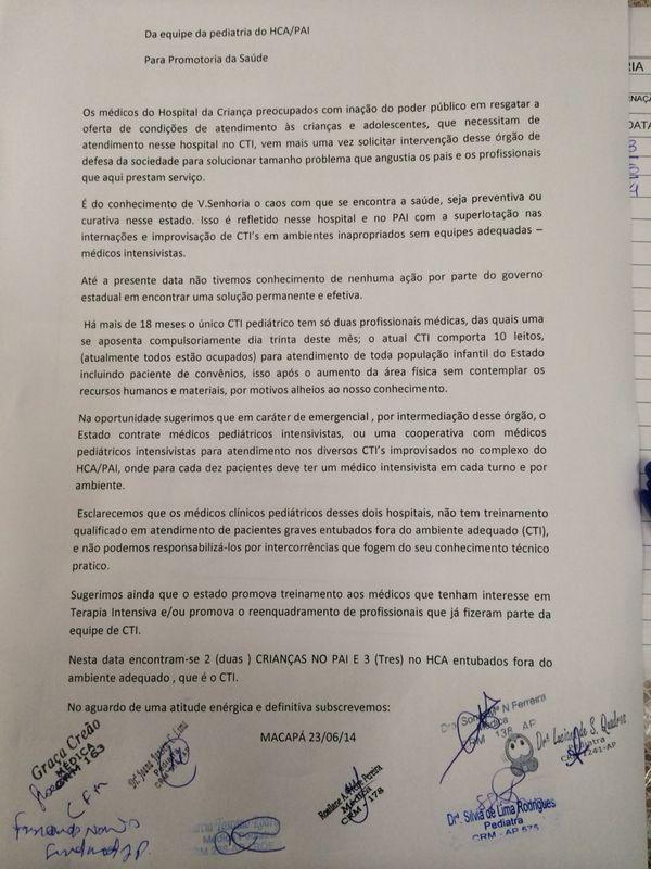 Em carta, médicos denunciam caos no Hospital da Criança