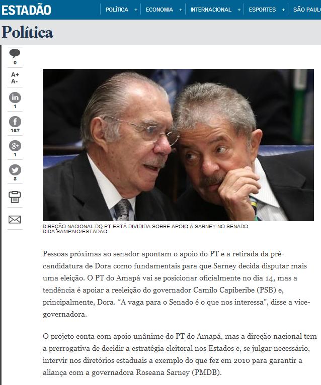 Estadão diz que sobrevida de Sarney depende de Lula