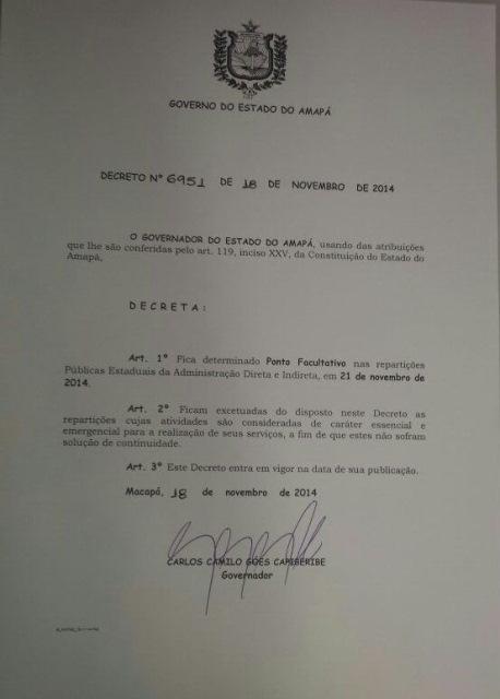 AP tem feriado prolongado com decreto publicado hoje