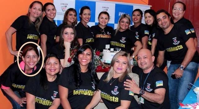 Heloneida e colegas da imprensa em evento do Sindicato dos Jornalistas em abril deste ano