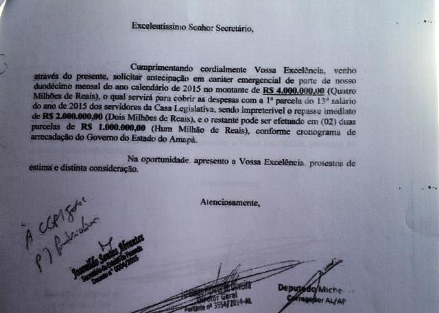 Duodécimo: Documentos comprovam que Alap solicitou antecipações