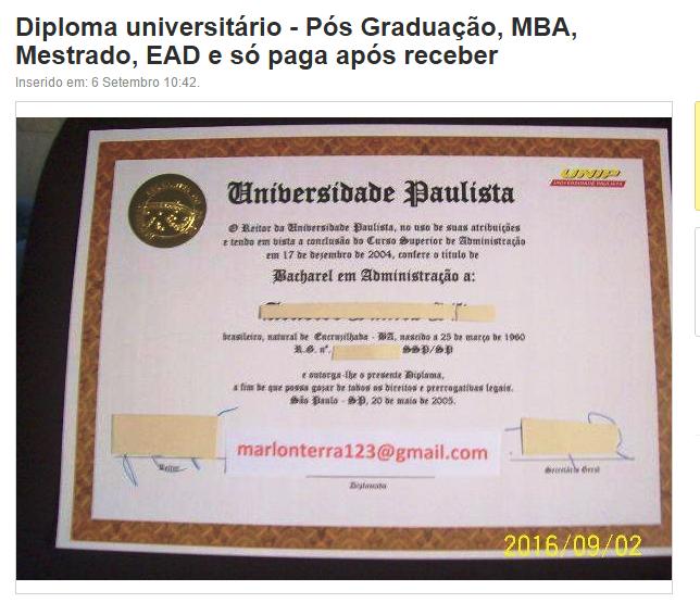 Suspeito oferece diplomas em site de vendas
