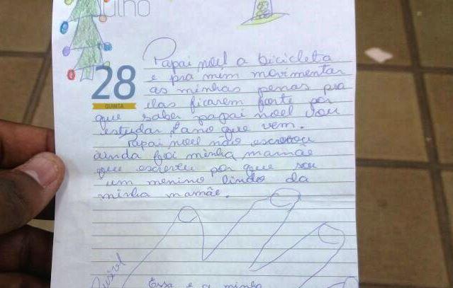Em carta ao Papai Noel, menino em tratamento pede bicicleta