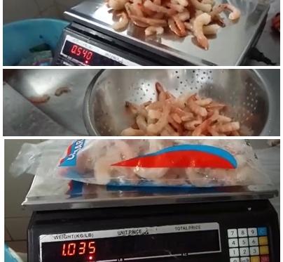 VÍDEO mostra 1 quilo de camarão virar meio quilo