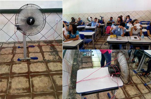 Alunos de escola tradicional improvisam ventilação em sala de aula