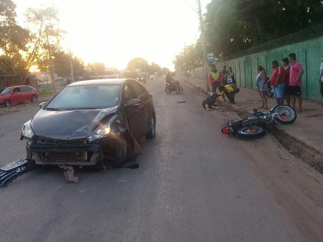 Frontal: Motociclista é atingido por motorista alcoolizada