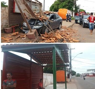 Motorista que destruiu abrigo de ônibus paga pela restauração