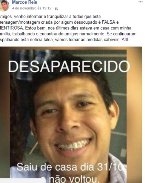 Administrador usa o Facebook para desmentir o próprio desaparecimento
