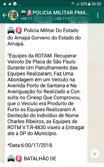"Bandidos criam grupo ""fake"" de Whatsapp da PM do Amapá"