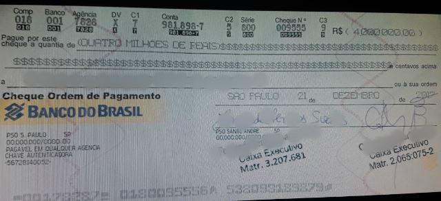 Engenheiro que tentou sacar cheque falsificado de R$ 4 milhões pega 8 meses