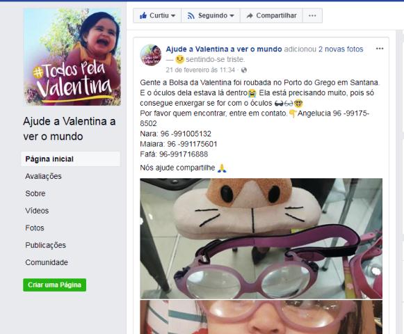 Para substituir óculos furtado de menina de 1 ano, família segue com campanha