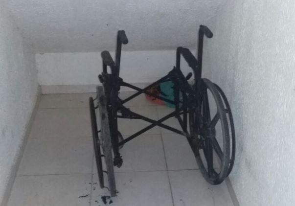 No Macapaba, cadeira de rodas é destruída por criminosos