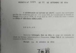 Desvios: Lacen exonerou servidora em 2016