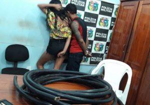 Casal é preso furtando cabos de fibra ótica