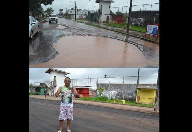 """Após reclamações, """"piscina de lama"""" é pavimentada"""