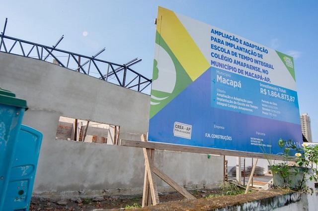 Governo aplica R$ 13,9 mi em obras para escolas de tempo integral em Macapá e Santana