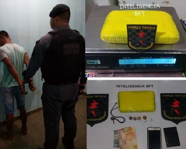 Força Tática intercepta cocaína que renderia R$ 100 mil aos traficantes