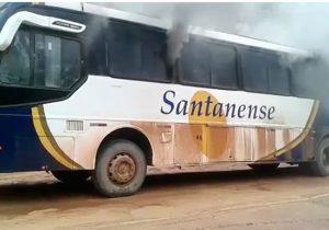 Ônibus intermunicipal pega fogo na BR-156