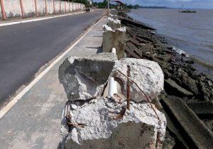 Vandalismo no muro de arrimo indigna moradores em Macapá