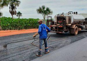 Lagoa dos Índios: asfalto começa a ser colocado, e trânsito será desviado