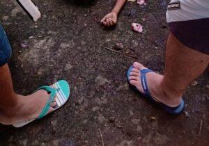 Criança cai de cabeça na calçada após subir em jambeiro