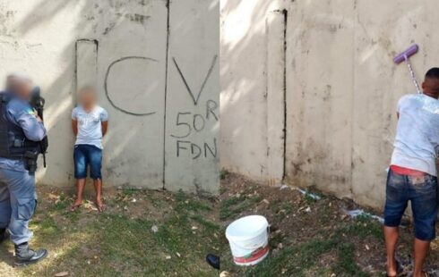 Após pichação, jovem é preso e lava muro para se desculpar